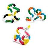 Tangle Jr. Brain Tools Textured Sensory Fidget Toy, 3 Pack, Pink Yellow Blue, Green Yellow Black, Blue Orange Green