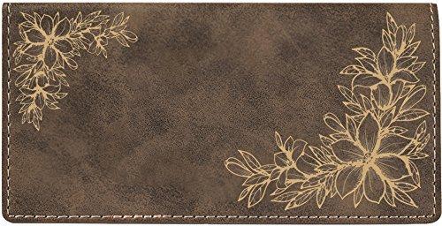 (Floral Filigree Laser Engraved Leatherette Checkbook Cover)