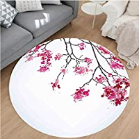Nalahome Modern Flannel Microfiber Non-Slip Machine Washable Round Area Rug-r Cherry Blossom Sakura Tree Floral Branch Spring Season Theme Culture Image Fuchsia Blue area rugs Home Decor-Round 51