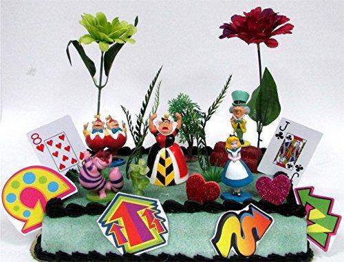 (Disney Alice in Wonderland Birthday Cake Topper Set Featuring 5 Alice in Wonderland Figures and Decorative Themed)