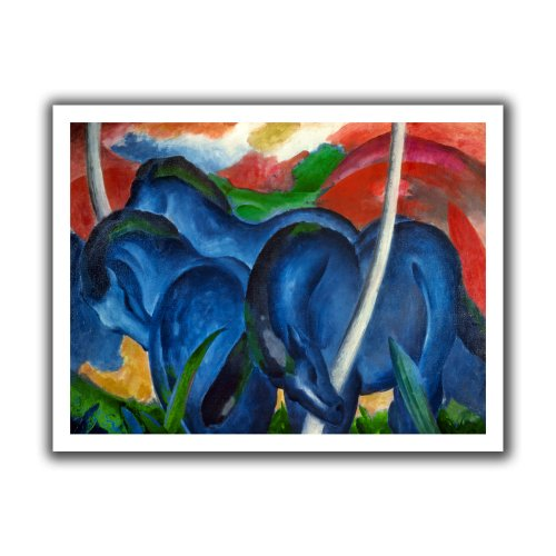 ArtWall Franz Marc 'Big Blue Horses' Unwrapped Flat Canvas Artwork, 28 by 36-Inch