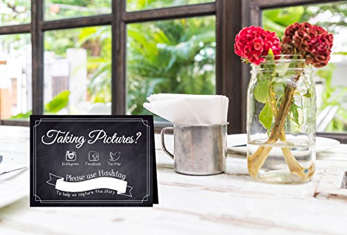 Hashtag Social Media Table Card Signs for Weddings and Parties - Chalkboard Style - 10 Pack by One Lily Press (Image #2)