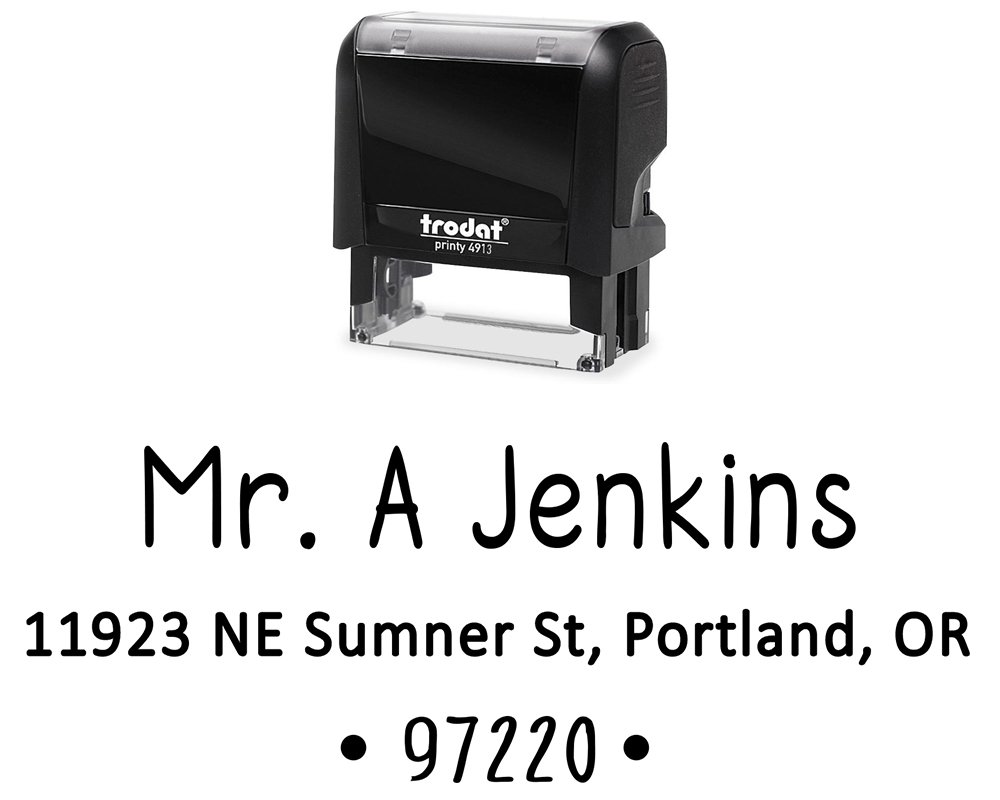 Personalized Address Labels. Self Inking Stamper; Color Options of Black, Blue, Green, Purple Or Red. Great Size for Mail Envelopes