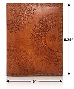 """Refillable Leather Journal Writing Notebook 8""""x6"""" Embossed Cover Sketch Pad Journals to Write In Dream Diary Small Sketch Book Bullet Journal for Men & Women - Notepad Sketchbook (Tumy Caramel)"""