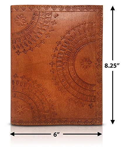 Leather Refillable Journal Writing Notebook - Genuine Embossed Cover Sketch Pad Journals to Write In Diary Sketch Book Men & Women Perfect Bullet Journaling Diario de Cuero Cuaderno (Tumy Caramel)