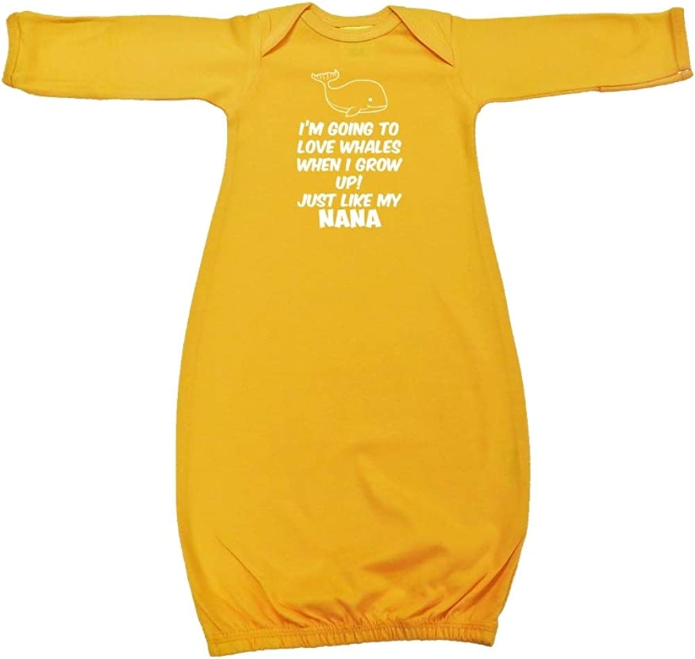 Just Like My Nana Baby Cotton Sleeper Gown Im Going to Love Whales When I Grow Up