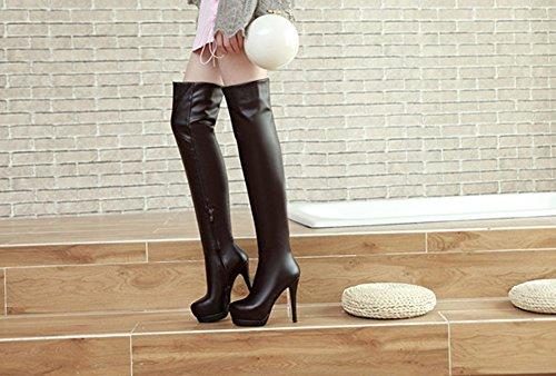 Aisun Damen Sexy Spitz Zehen Plateau Stiletto High Heel Overknee Langschaft Reißverschluss Stiefel Braun