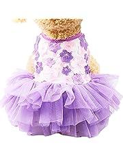 Borlai Pet Bloemen Jurk Hond Puppy Mesh Tutu Party Trouwjurk Kleding Kostuums Voor Kleine Honden