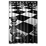 "48""(W) x 72""(H) 100% Polyester Chessboard Art Fashion Trend Shower Curtain,Bathroom Curtain"
