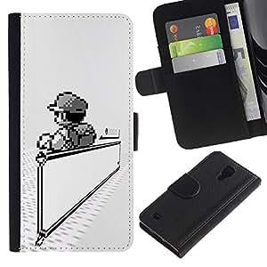 NEECELL GIFT forCITY // Billetera de cuero Caso Cubierta de protección Carcasa / Leather Wallet Case for Samsung Galaxy S4 IV I9500 // Mario Juegos