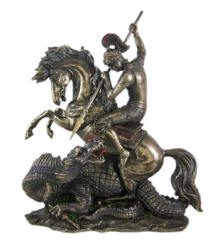 12.5 Inch Figure Replica St. George the Dragon Slayer Display Decor by Unknown