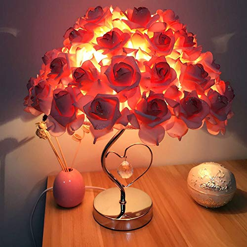 Dirance Home Decoration Romantic Rose Heart-Shaped Table lamp, Flower Shadow lamp, Wedding Festive Gift Bedside Bedroom Decoration