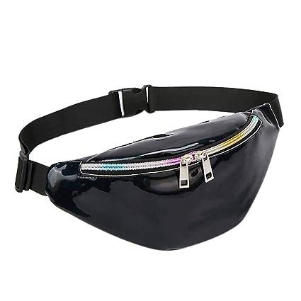 86821d9ef6 Amazon.com  HULKAY Shoulder Bag for Women Laser Pocket Mini Flash Sport  Laser Beach Bags(Black)  Clothing