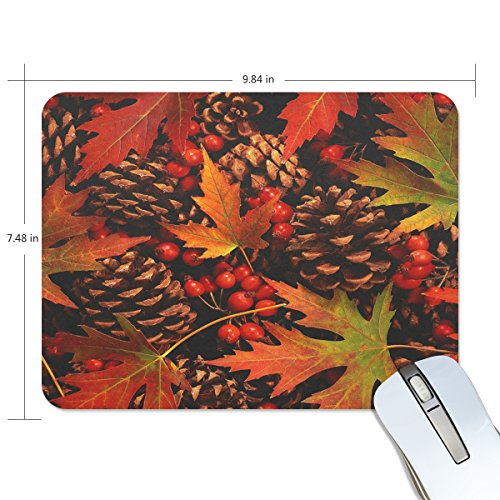 No Fruit Cones (Jennifer Office Nonskid Rubber Mouse Mat Autumn Pinecone With Red Fruit RectangleNonslip Mouse Pad)