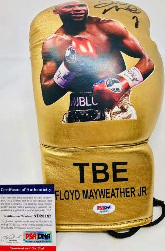 Floyd Mayweather Autographed Boxing Glove Gold Signed COA Left PSA/DNA Certified Autographed Boxing Gloves