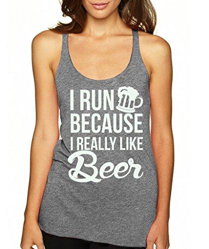 SignatureTshirts Women's I Run Because I Really Like Beer Racerback Tank Top M Vintage Grey