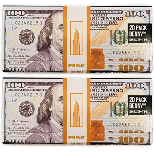 EMPIRE ROLLING - Two Pack Wallets $100 Bill Rolling Paper (40 Papers) - BENNY1 3/4 Inches | Made from Pure All Natural Ingredients | Premium Quality Paper, Organic, 100% Vegan, Non-GMO, Unbleached (Money Rolling Papers)