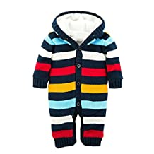 Canvos Baby Toddler Boys Girls Cardigan Striped Leotard One-piece Romper