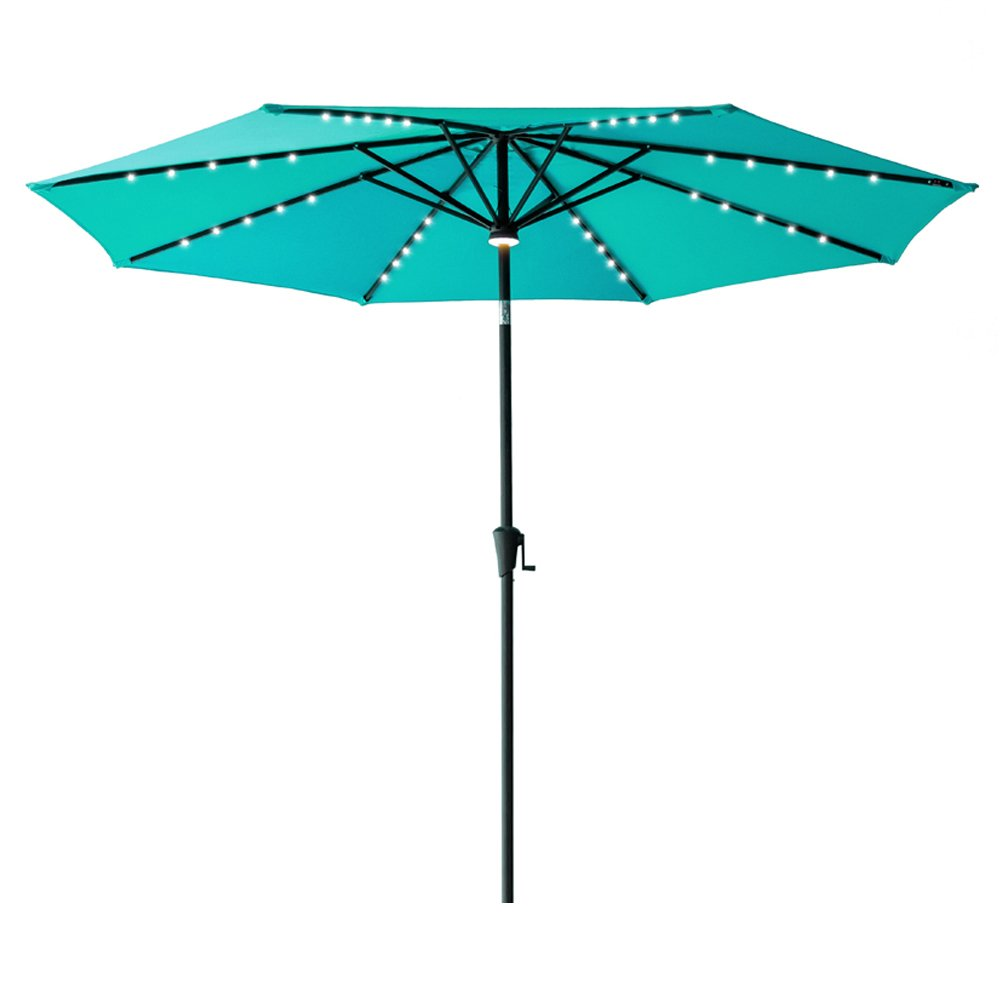 C-Hopetree 10' LED Outdoor Patio Market Umbrella with Solar Power LED Lights, Crank Winder, Push Button Tilt, Aqua Blue by C-Hopetree