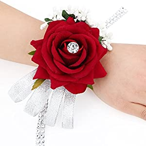 FAYBOX Velvet Open Rose Silvery Bling Ribbon Rhinestone Stretch Bracelet Wedding Prom Wrist Corsage Hand Flower Pack of 2 WineRed 56