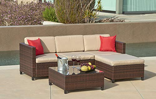 Lahaina 5 Piece Wicker Sectional Sofa Set – All Weather Brown Striped Wicker Patio Furniture W Beige Zippered Cushions Glass Top Coffee Table Incl. Waterproof Cover Necessary Tools