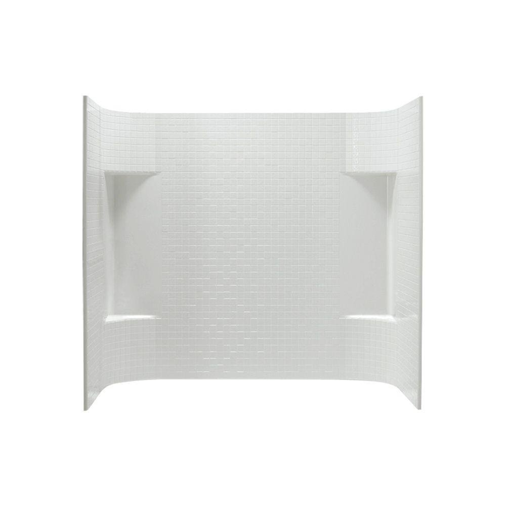 Sterling 71144100-0 Accord Tile 31-1/4-Inch x 60-Inch x 56-1/4-Inch Direct-to-Stud Wall Set in White , 3-Piece