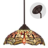 Tiffany Dragonfly Style Multicolor Stained Glass Lamp 2 Lights 16 Inches Pendant Lighting Chandelier Hanging Lighting Fixture by Lucidce