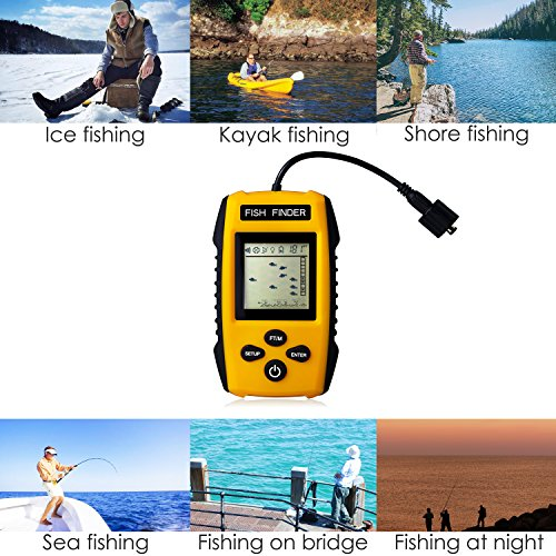 Updated Version Venterior Portable Fish Finder, Handheld Fishfinder with Wired Sonar Sensor Transducer and LCD Display