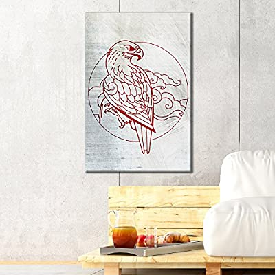 Canvas Wall Art - Red Eagle Pattern on Abstract Silver Background - Giclee Print Gallery Wrap Modern Home Art Ready to Hang - 12x18 inches