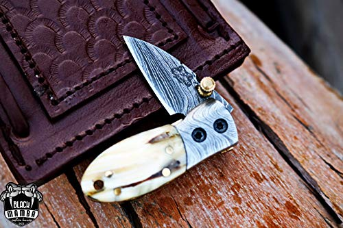 Mammoth Clip Blade - BMK-415 Tsetse Fly 1.2 Inches Blade Damascus Neck Knives Handmade Damascus Pocket Folding Knife with Mammoth Tooth Handle