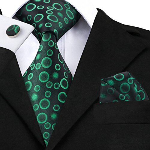 Hi-Tie Men Black Green Circle Dots Tie Handkerchief Necktie with Cufflinks and Pocket Square Tie Set (Link Circle Square)