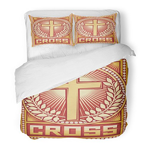 SanChic Duvet Cover Set Propaganda of Christian Cross Religious Angel Antique Arms Believe Decorative Bedding Set with 2 Pillow Shams Full/Queen Size by SanChic