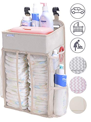 DIAPER CADDY ORGANIZER, nursery organizer: Best hanging Diaper Caddy for baby crib, playard, changing table, car, wall. Large Storage. Pink Grey Chevron Beige. Perfect baby shower gift for boy or - Changing Hanging Basket Table For