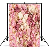 WOLADA 5X7ft Rose Flowers Wall Backdrop Photography Background Newborns Photo Backdrop Studio Prop 9604
