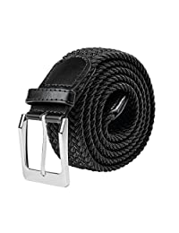 Braided Elastic Fabric Stretch Belt Leather End and Silver Metal Buckle S-XXL (Small, Black)