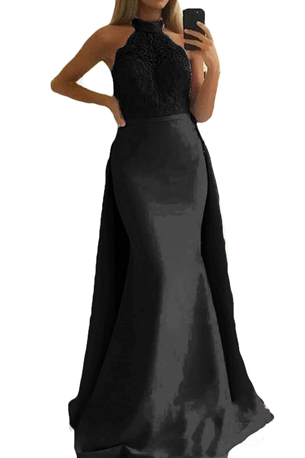 Black WZW Mermaid Prom Dresses with Over Train Long Formal Arabic Evening Party Gowns Special Occasion Dress
