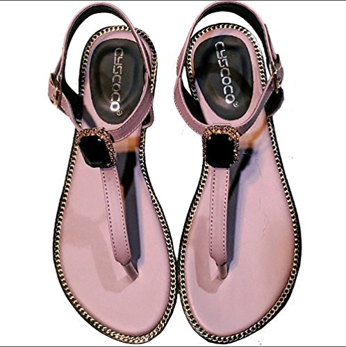 JUWOJIA Summer New Products Sandals Women's T-Strap Sweet Big Jewel Toe Diamond Sandals. negro
