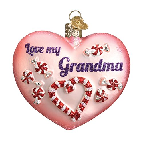 (Old World Christmas Ornaments: Grandma Heart Glass Blown Ornaments for Christmas Tree)