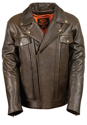 Milwaukee Leather Men's Utility Pocket Motorcycle Jacket (Retro Brown, X-Large)