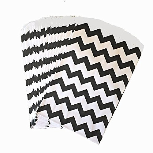 Somnr®Black and White Chevron Treat Sacks - Favor Bags Halloween Wedding Birthday Over the Hill Party Pack of 48