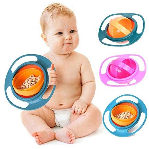 Gijoki Portable 360 Rotation Baby Kids Training Feeding Bowls No Spill Gyro Bowls Utensils