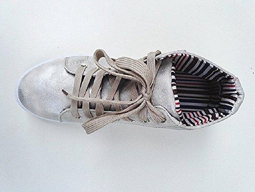 Aumento Girl Fashionfolie Ginnastica Femminile Scarpe Pizzo Fashion Da Y227 Argento drgIg8qx