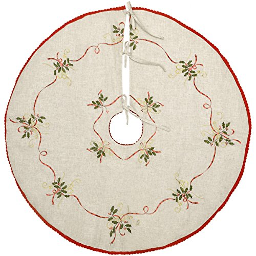 Grelucgo 36 Inch Embroidered Christmas Holiday Tree Skirt, Double Thickness