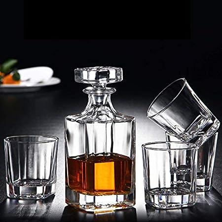 ZJZ Juego de Jarra de Whisky Cuadrada de 5 Piezas, Botella de Cuatro Vasos, Juego de Regalo de Whisky