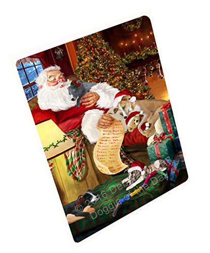 Whippet Dog Magnet - Whippet Dog and Puppies Sleeping with Santa Magnet (11.5