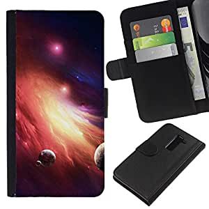 EJOY---La carpeta del tirón la caja de cuero de alta calidad de la PU Caso protector / LG G2 D800 / --Espacio Planet Galaxy Estrellas 36