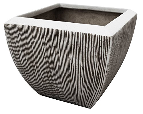 HomeRoots Decor Square Flower Pot, ribbed finish, 3/set; 14'' x 14'' x 12''; 17'' x 17'' x 16''; 21'' x 21'' x 19'' by HomeRoots Decor