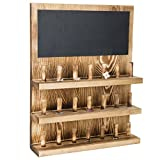 MyGift 3-Tier Wall-Mounted Wood Ring Display Rack with Chalkboard