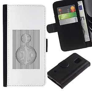 Be Good Phone Accessory // Caso del tirón Billetera de Cuero Titular de la tarjeta Carcasa Funda de Protección para Samsung Galaxy S5 V SM-G900 // White Black Sphere Lines Computer