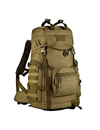 Protector Plus 60L Military Tactical Hiking Daypacks, Gear 900D Nylon Sport Outdoor Rucksack Waterproof Molle Assault Pack, Brown
